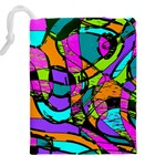 Abstract Sketch Art Squiggly Loops Multicolored Drawstring Pouches (XXL) Back