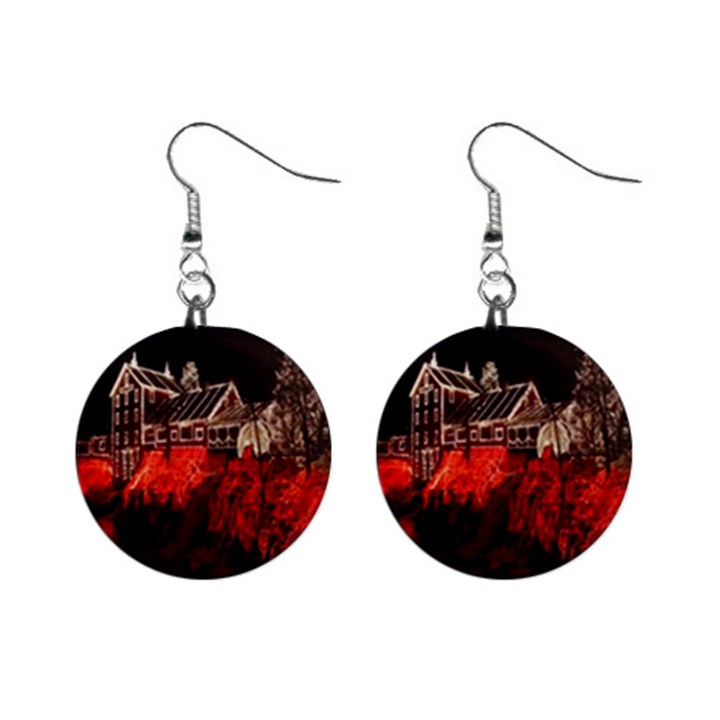 Clifton Mill Christmas Lights Mini Button Earrings