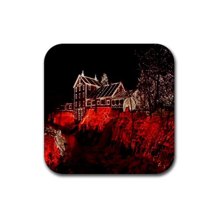 Clifton Mill Christmas Lights Rubber Square Coaster (4 pack)
