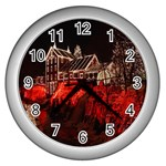 Clifton Mill Christmas Lights Wall Clocks (Silver)  Front