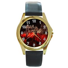 Clifton Mill Christmas Lights Round Gold Metal Watch