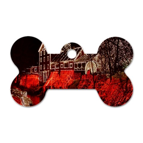 Clifton Mill Christmas Lights Dog Tag Bone (One Side)