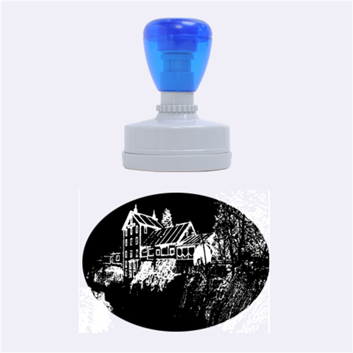 Clifton Mill Christmas Lights Rubber Oval Stamps