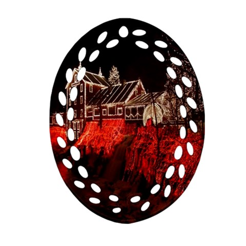 Clifton Mill Christmas Lights Oval Filigree Ornament (2-Side)