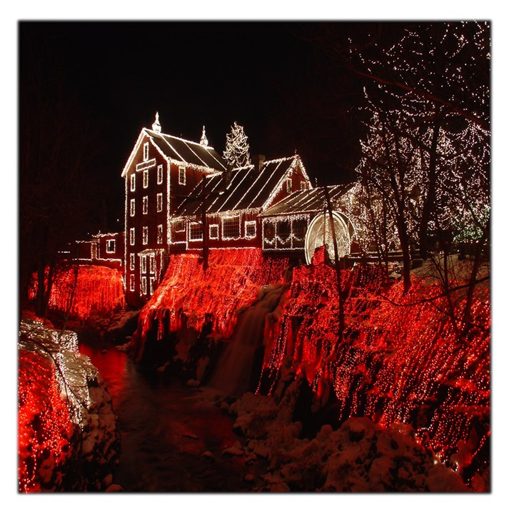 Clifton Mill Christmas Lights Large Satin Scarf (Square)