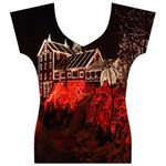 Clifton Mill Christmas Lights Women s V-Neck Cap Sleeve Top Front