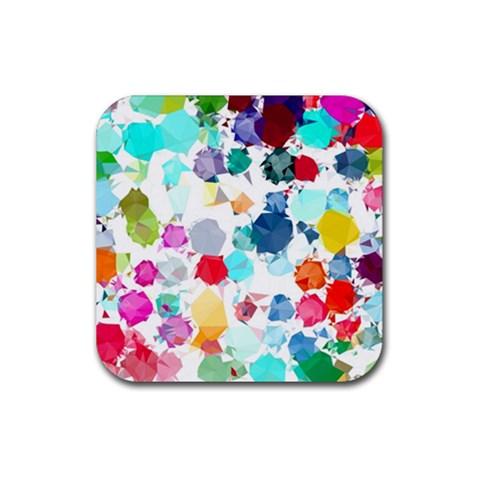 Colorful Diamonds Dream Rubber Square Coaster (4 pack)
