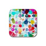 Colorful Diamonds Dream Rubber Square Coaster (4 pack)  Front