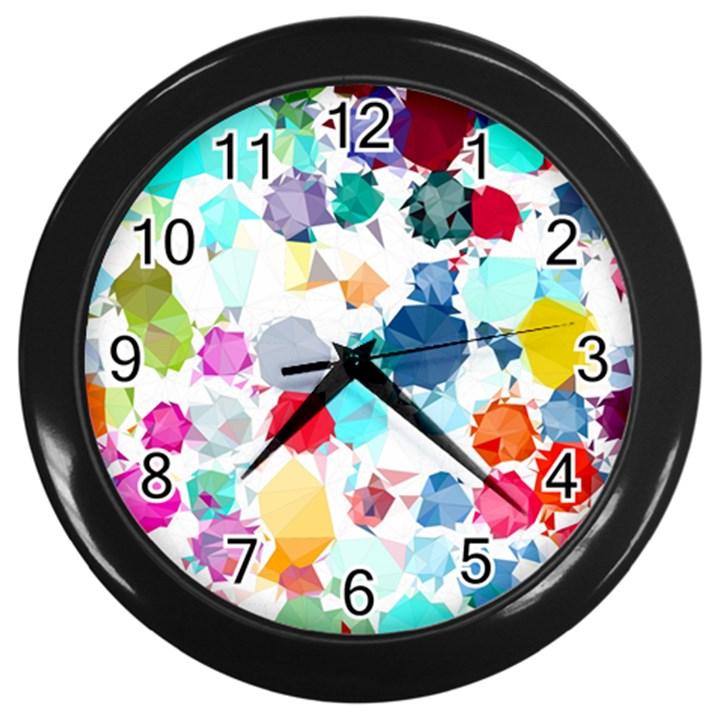 Colorful Diamonds Dream Wall Clocks (Black)