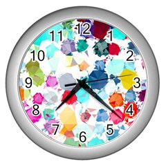Colorful Diamonds Dream Wall Clocks (silver)
