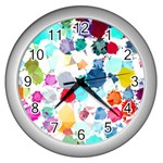 Colorful Diamonds Dream Wall Clocks (Silver)  Front