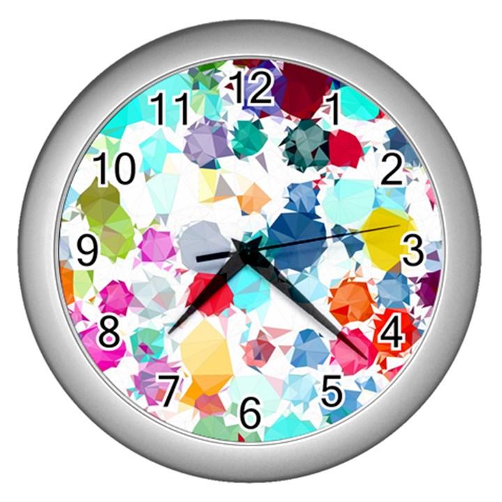 Colorful Diamonds Dream Wall Clocks (Silver)