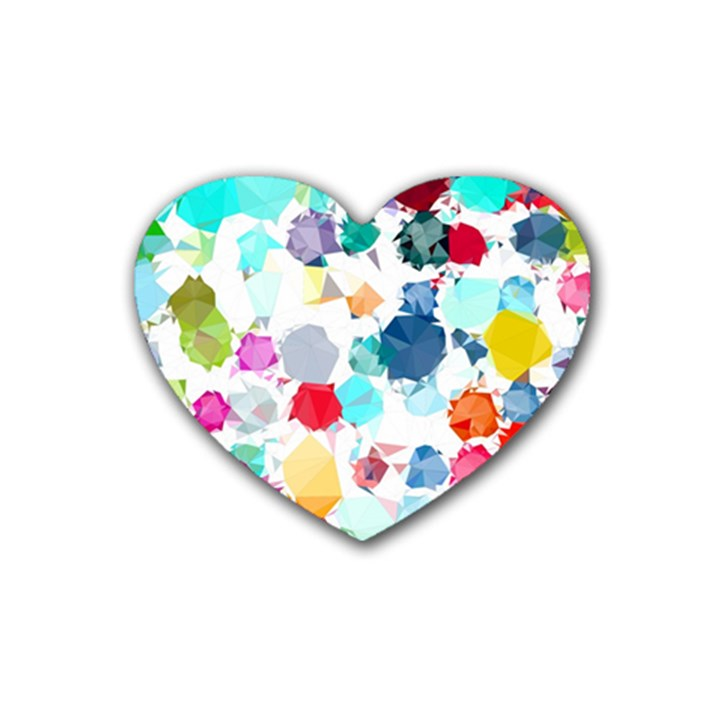 Colorful Diamonds Dream Rubber Coaster (Heart)