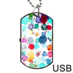 Colorful Diamonds Dream Dog Tag Usb Flash (one Side)