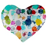 Colorful Diamonds Dream Large 19  Premium Heart Shape Cushions Back