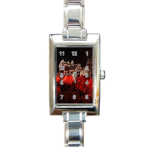 Clifton Mill Christmas Lights Rectangle Italian Charm Watch