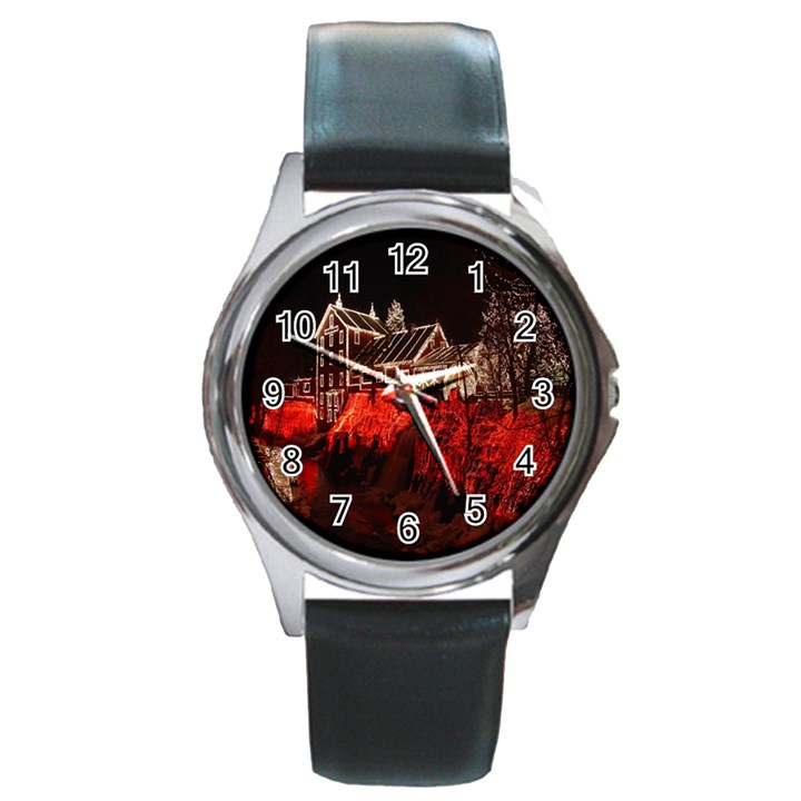 Clifton Mill Christmas Lights Round Metal Watch