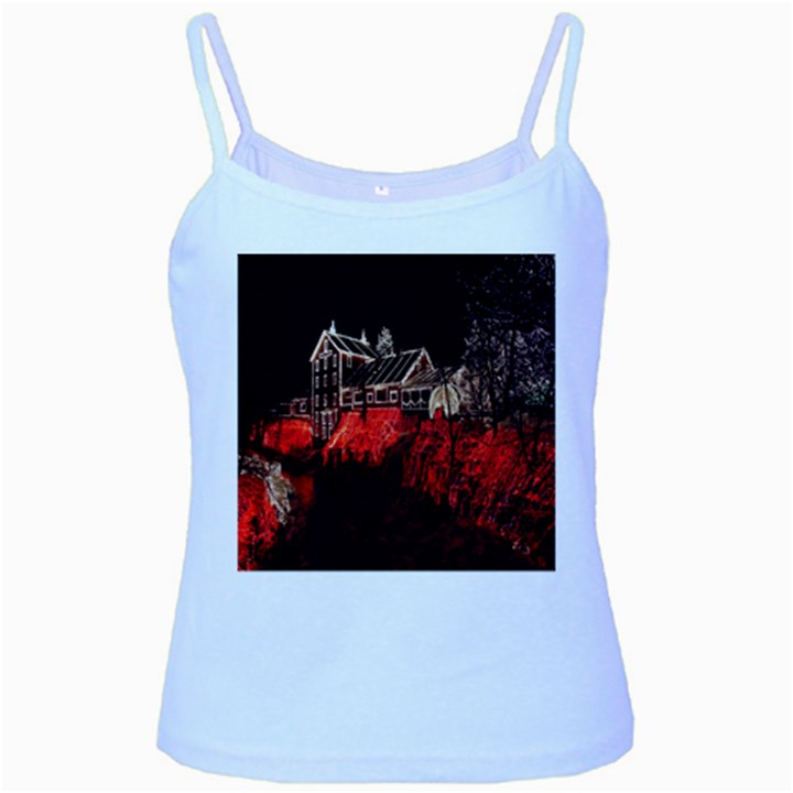 Clifton Mill Christmas Lights Baby Blue Spaghetti Tank
