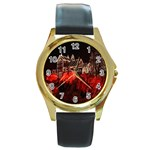 Clifton Mill Christmas Lights Round Gold Metal Watch Front