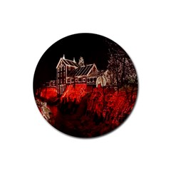 Clifton Mill Christmas Lights Rubber Round Coaster (4 pack)
