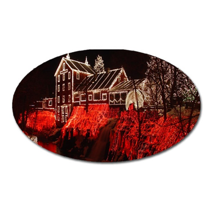 Clifton Mill Christmas Lights Oval Magnet