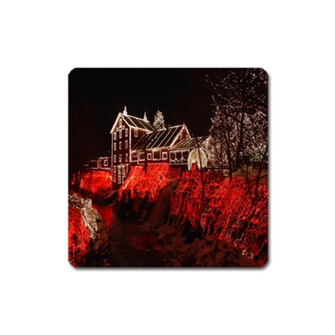 Clifton Mill Christmas Lights Square Magnet