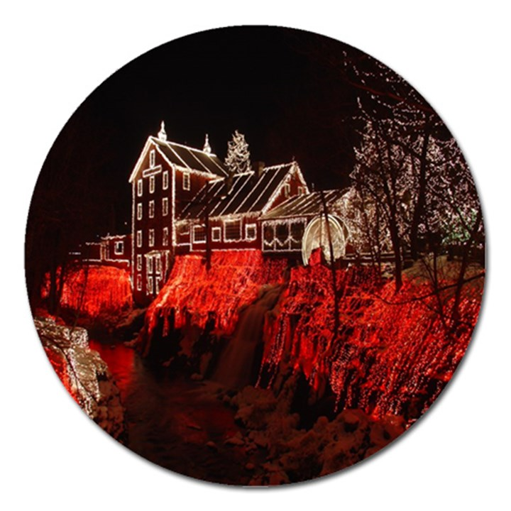 Clifton Mill Christmas Lights Magnet 5  (Round)