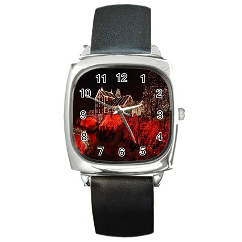 Clifton Mill Christmas Lights Square Metal Watch