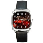 Clifton Mill Christmas Lights Square Metal Watch Front
