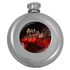 Clifton Mill Christmas Lights Round Hip Flask (5 oz)