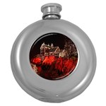 Clifton Mill Christmas Lights Round Hip Flask (5 oz) Front