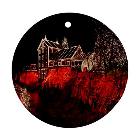 Clifton Mill Christmas Lights Round Ornament (Two Sides)