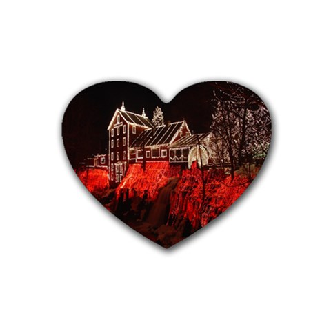 Clifton Mill Christmas Lights Rubber Coaster (Heart)