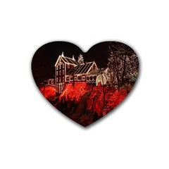 Clifton Mill Christmas Lights Heart Coaster (4 pack)