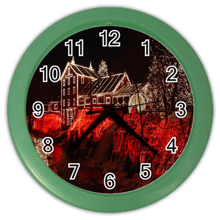 Clifton Mill Christmas Lights Color Wall Clocks