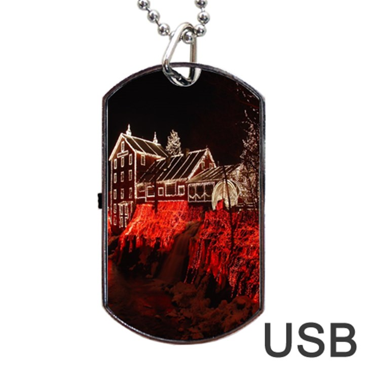 Clifton Mill Christmas Lights Dog Tag USB Flash (Two Sides)