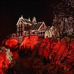 Clifton Mill Christmas Lights Happy Birthday 3D Greeting Card (8x4) Inside