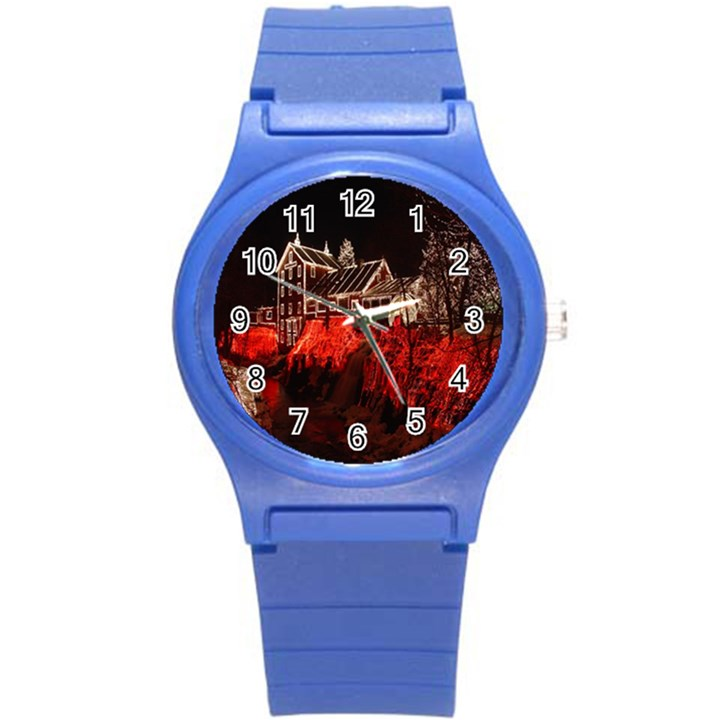 Clifton Mill Christmas Lights Round Plastic Sport Watch (S)