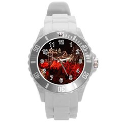 Clifton Mill Christmas Lights Round Plastic Sport Watch (L)