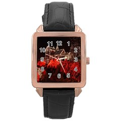 Clifton Mill Christmas Lights Rose Gold Leather Watch