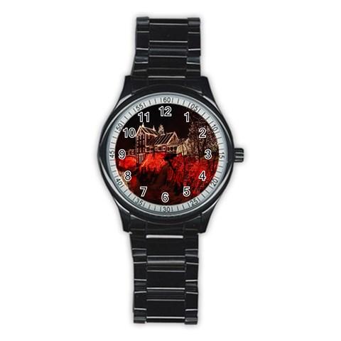 Clifton Mill Christmas Lights Stainless Steel Round Watch
