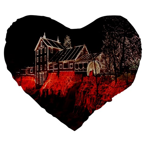 Clifton Mill Christmas Lights Large 19  Premium Flano Heart Shape Cushions