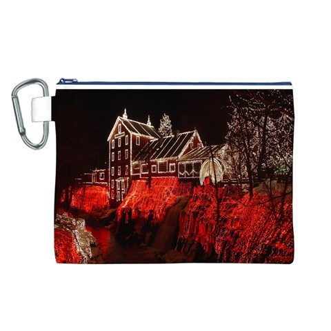 Clifton Mill Christmas Lights Canvas Cosmetic Bag (L)