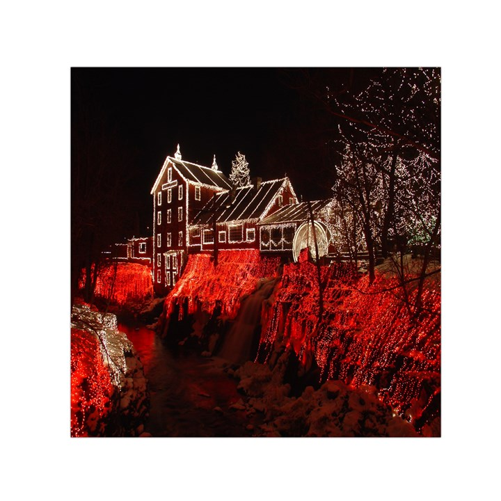 Clifton Mill Christmas Lights Small Satin Scarf (Square)