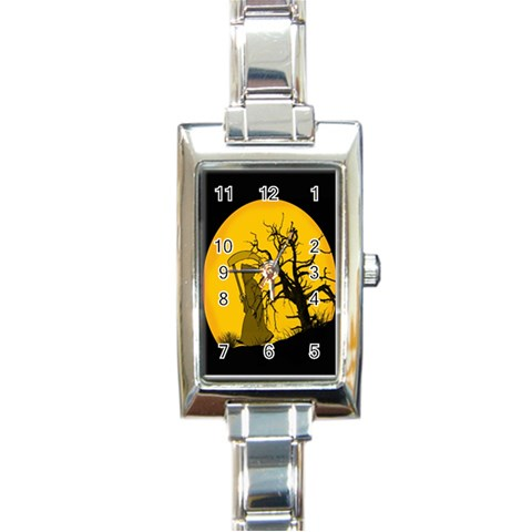 Death Haloween Background Card Rectangle Italian Charm Watch