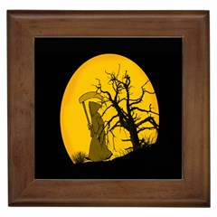 Death Haloween Background Card Framed Tiles