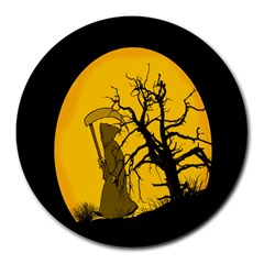 Death Haloween Background Card Round Mousepads