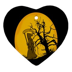 Death Haloween Background Card Ornament (Heart)