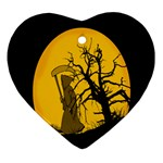 Death Haloween Background Card Ornament (Heart)  Front