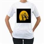 Death Haloween Background Card Women s T-Shirt (White) (Two Sided) Front
